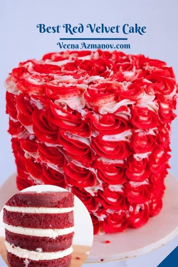 Pinterest image for red velvet cake with IMBC.