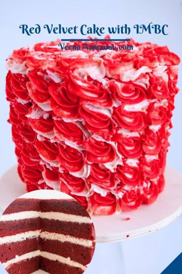 Pinterest image for red velvet cake.
