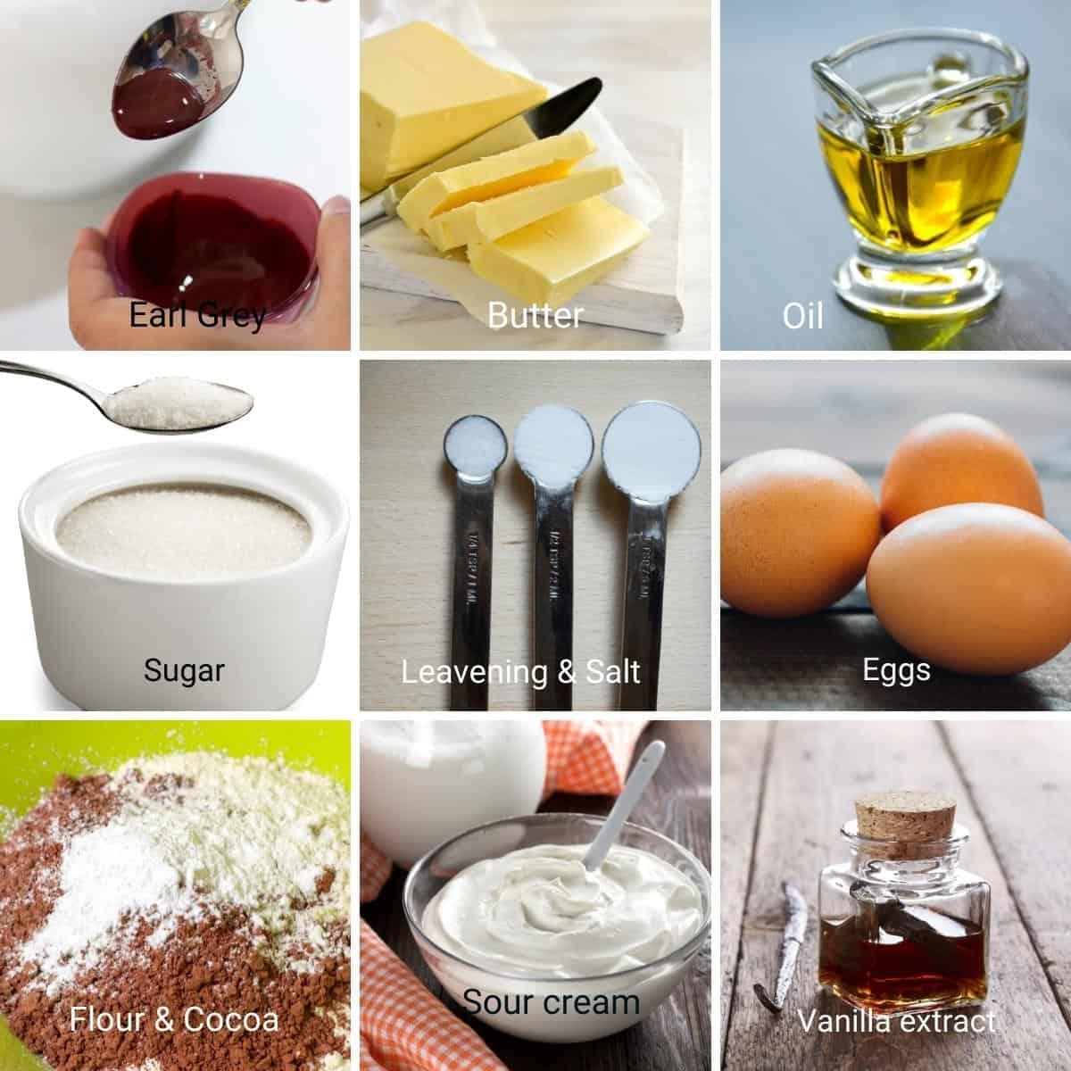 Ingredients for red velvet cake.