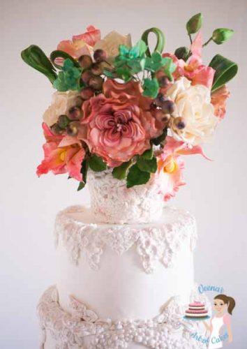 Bas Relief White Wedding Cake (15)