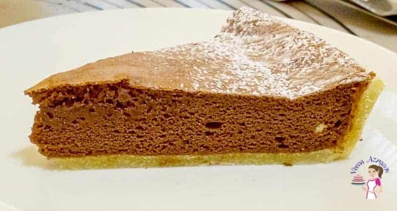 A piece of chocolate soufflé tart.
