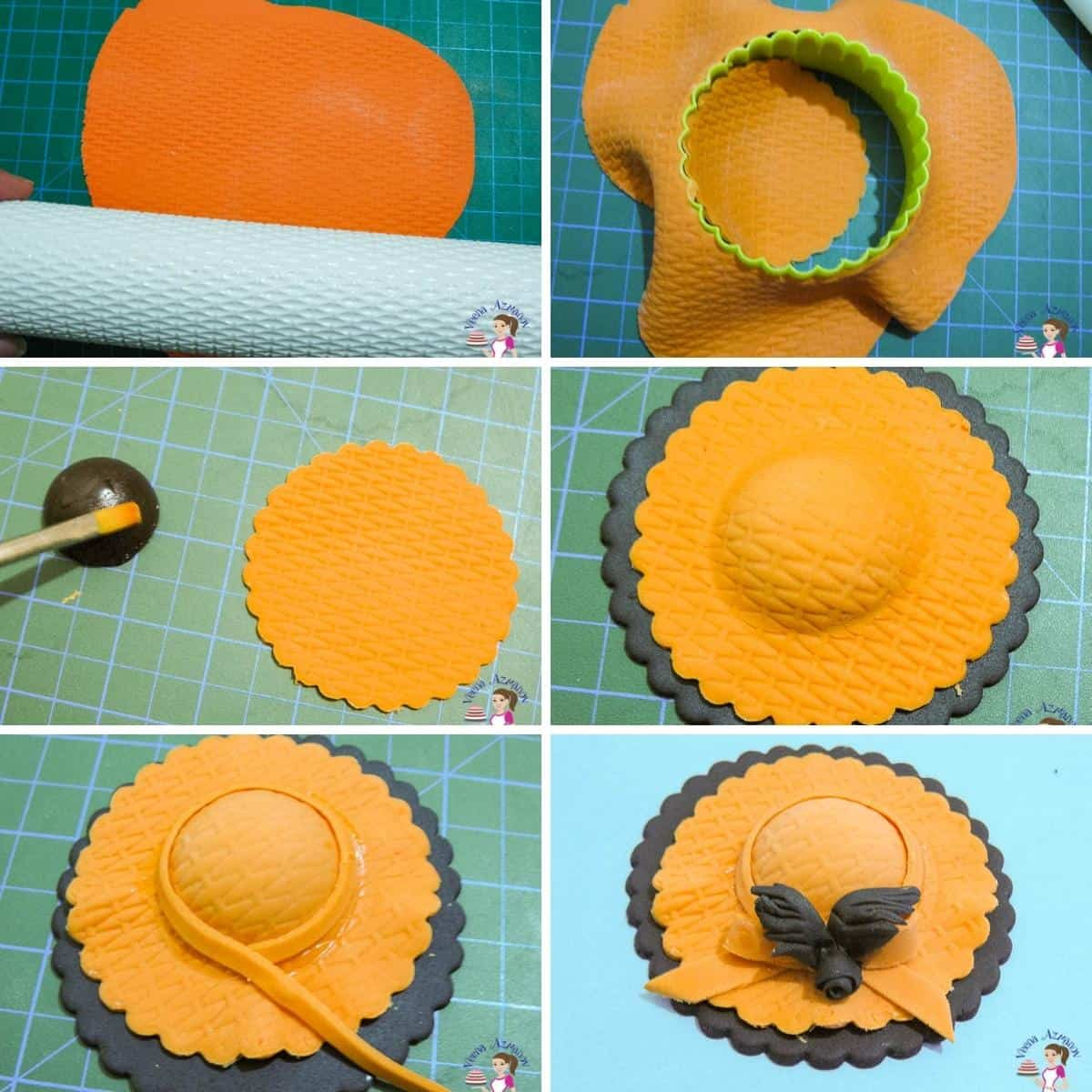 A collage for orange cupcake hat toppers