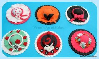 Girly Hat Cupcake Toppers