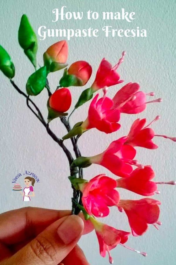 A person holding a sugar flower.