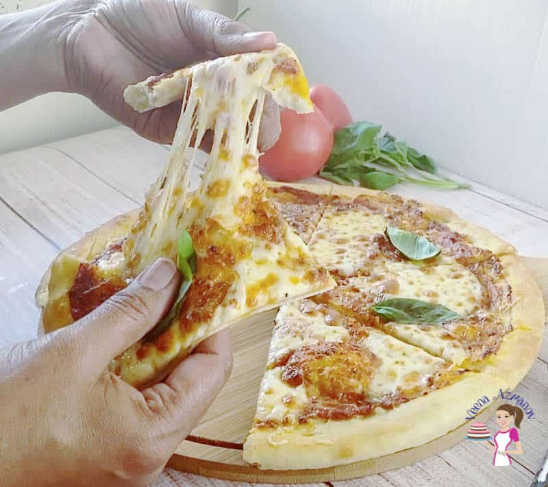 Slice the pizza into 8 wedges.