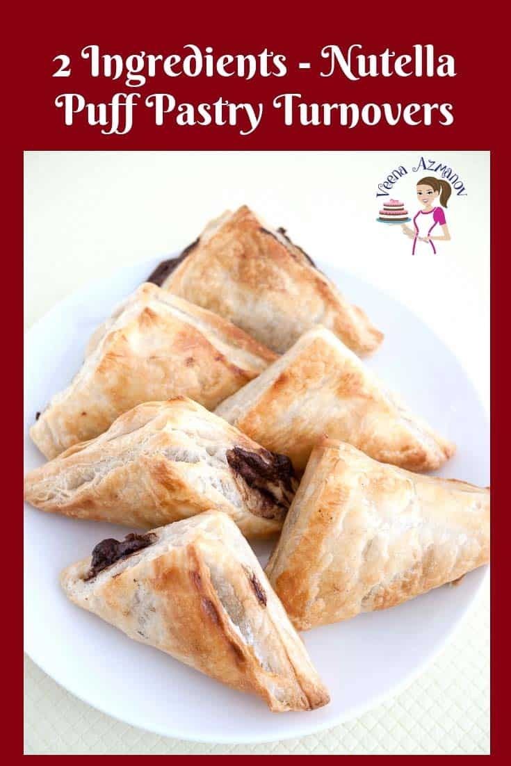 These Nutella Puff Pastries take 5 minutes to prepare and 10 minutes to bake. A perfect quick snack or dessert whenever you need. #Nutella #puff #pastry #Pastries #turnovers #2 ingredients via @Veenaazmanov
