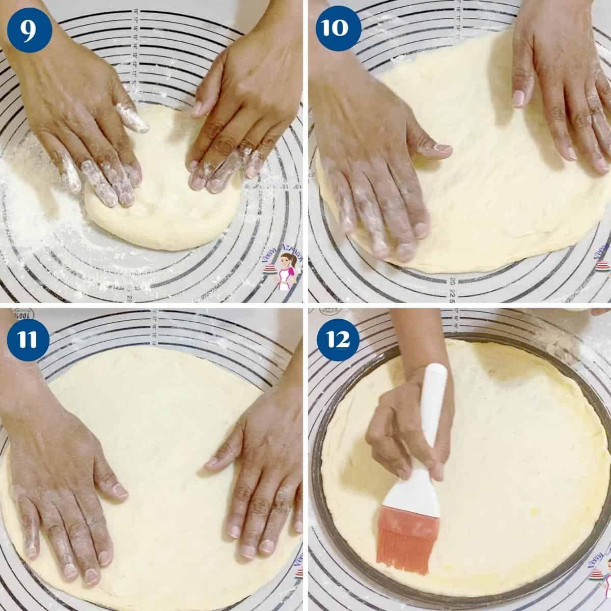 Progress pictures rolling pizza dough.