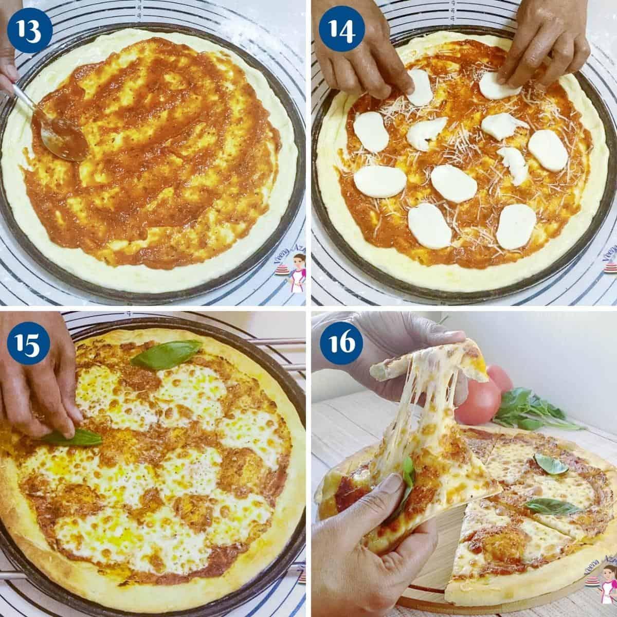 Progress pictures baking pizza dough.