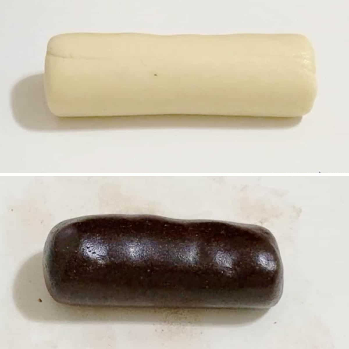 Collage of both white and chocolate marzipan.