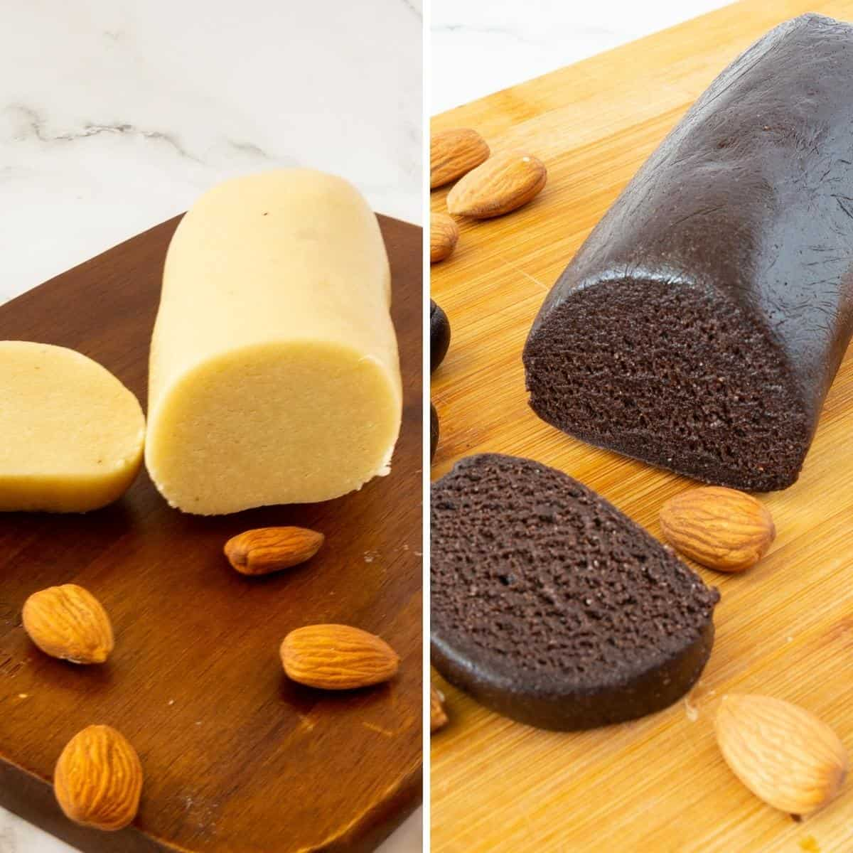 Vanilla and chocolate marzipan collage.