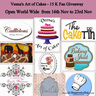 15 K Fan Giveaway Sponsporship for Veena's Art of Cakes
