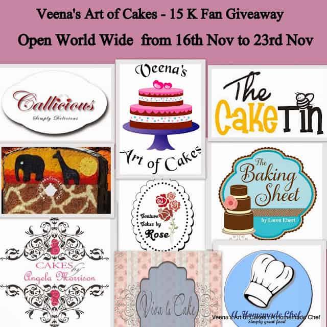 15 K Fan Giveaway Sponsporship for Veena's Art of Cakes