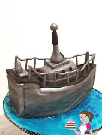 Navy Boat Cake for a Navy Birthday Boy