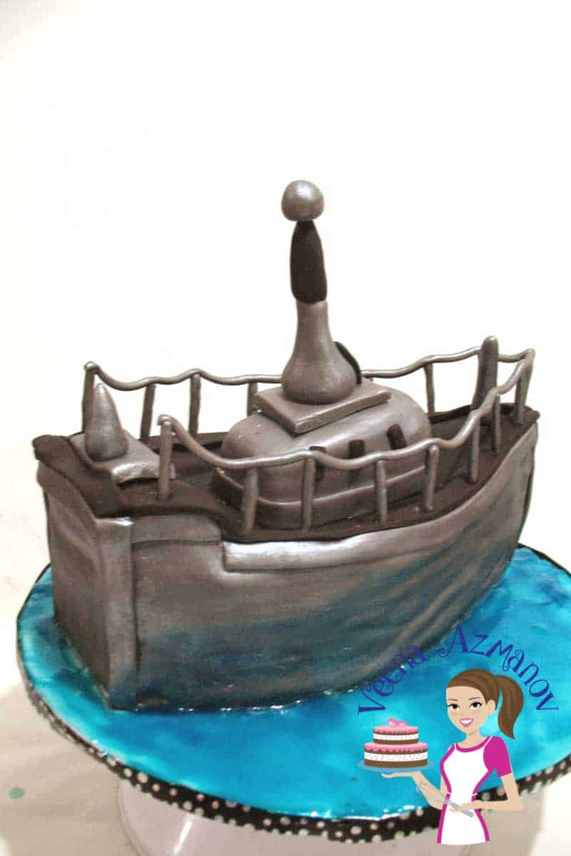 Wondrous Navy Boat Cake For A Navy Birthday Boy Veena Azmanov Personalised Birthday Cards Veneteletsinfo