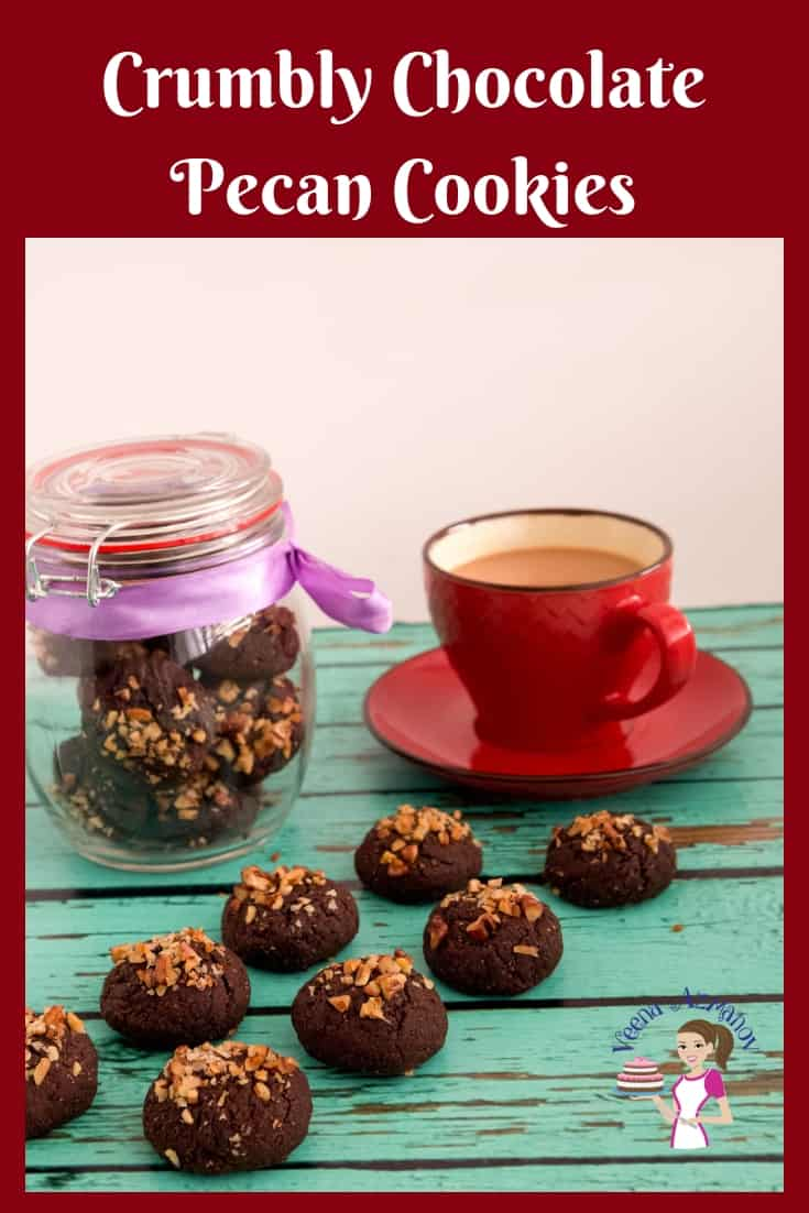 An image optimized for social media share for these crumbly chocolate pecan cookies video recipe that take no more than 15 minutes from start to finish.
