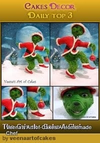 The Grinch sugar figure made in gumpaste is part of the Bake A Christmas Wish project collaboration with 80 plus other cake decorators from around the world. I choose to make Jam Careys The Grinch as my piece