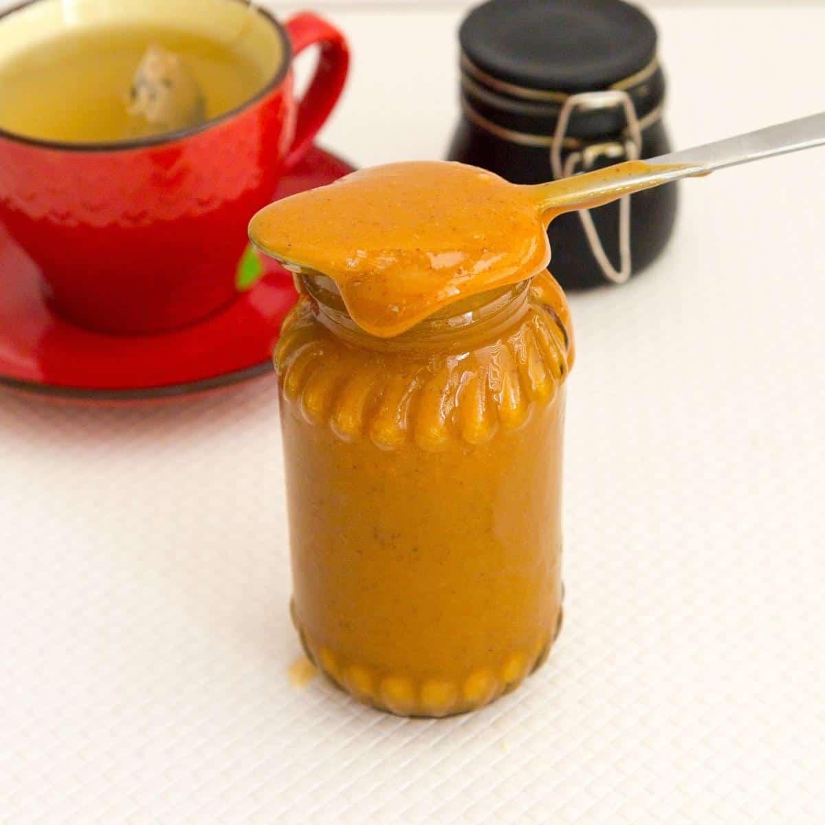A mason jar with dulce de leche.