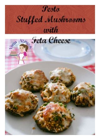 Pesto Stuffed Mushrooms with Feta Cheese