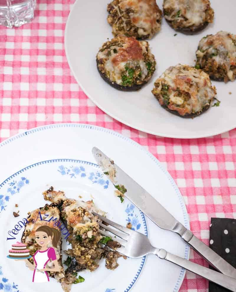 A macro image of the whole dish with a cut mushrooms for the pesto stuffed mushrooms