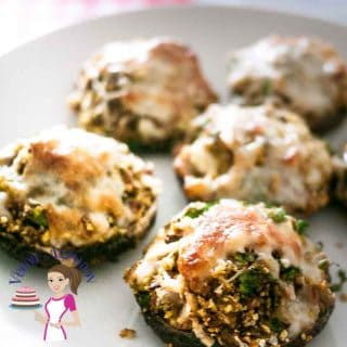 Another angle of the delicious Pesto Stuffed Mushrooms with Feat Cheese