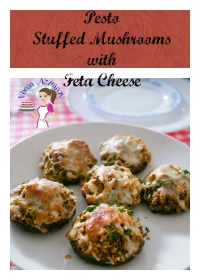 Pesto Stuffed Mushrooms with Feta Cheese is an absolutely delicious and super quick recipe for appetizer or side dish with such easy to find ingredients
