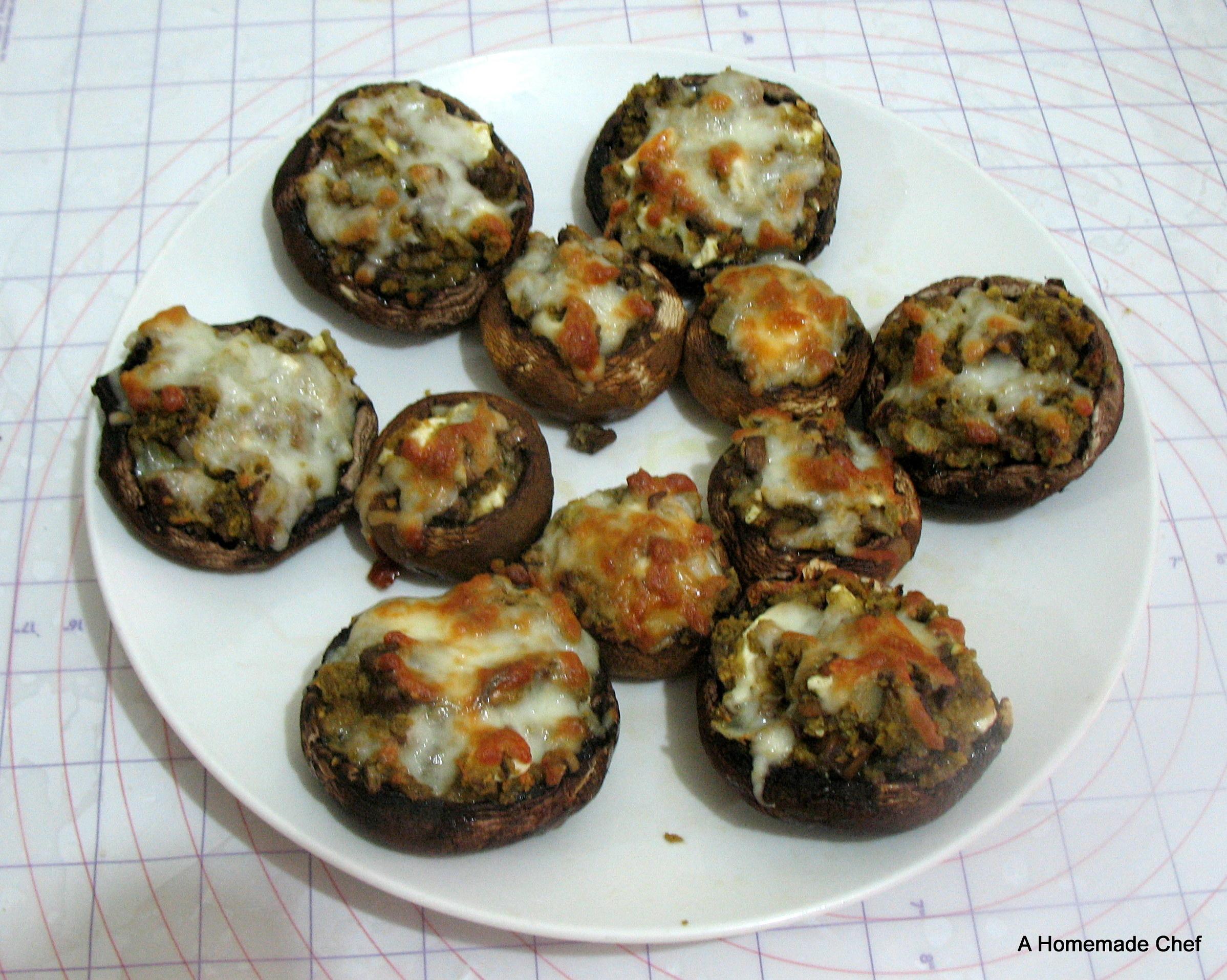 Stuffed Mushrooms with Pesto and Feta Cheese - A Homemade Chef