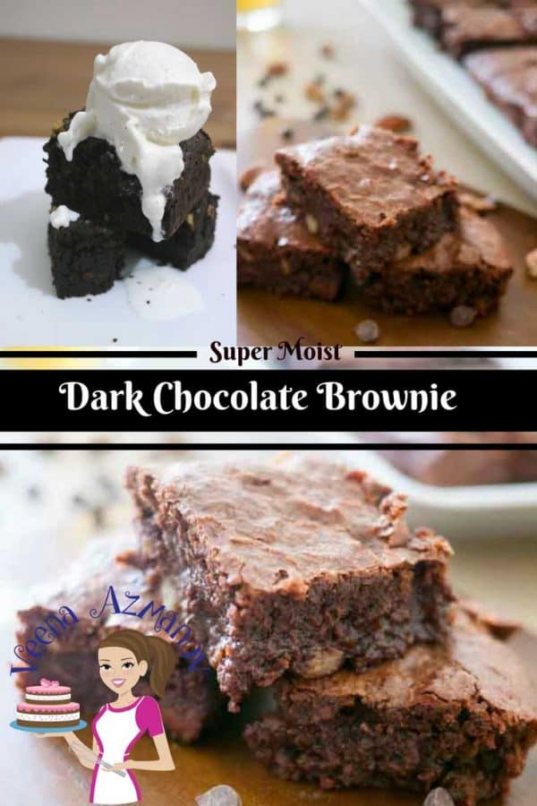 A social media optimized image for dark chocolate brownies, this chocolate brownies is to die for with a light crisp top and soft melt in the mouth fudge center. A chocolate brownie which is a chocolate lover's ultimate dessert.