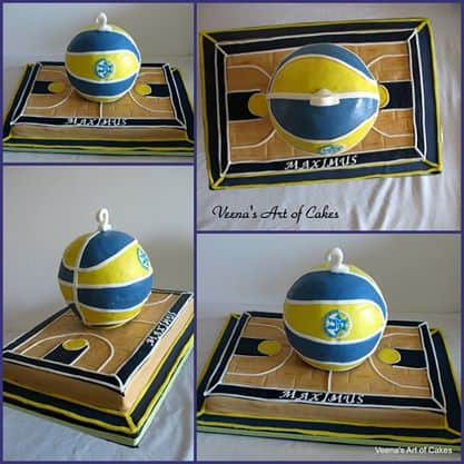 Basketball cake and court