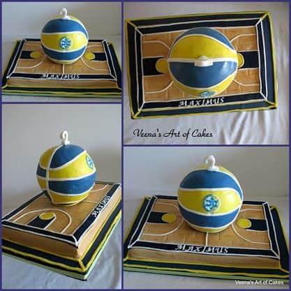Basketball cake and court