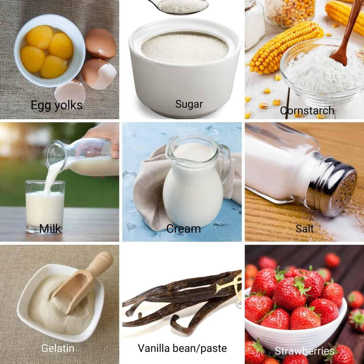 Ingredients for strawberry Bavarian cream