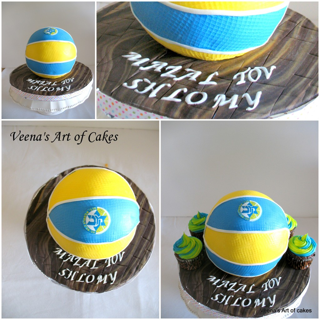 A cake decorated to look like a basketball.