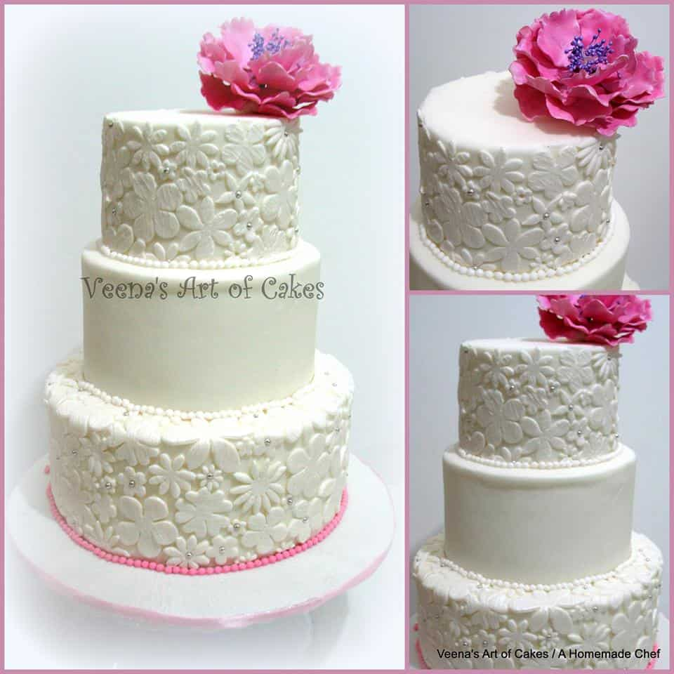 A lace inspired wedding cake.