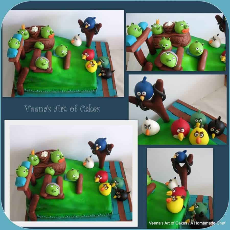 A cake decorated in the Angry Birds theme.