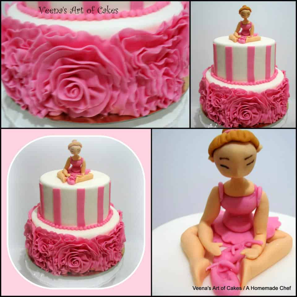 Fondant Rose Ruffle Cake Veena Azmanov