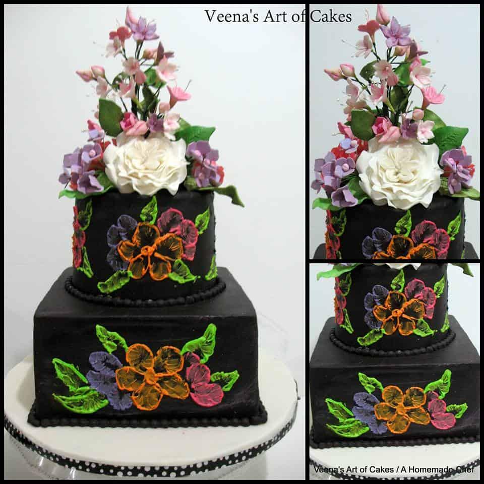 Black Brush Embroidery Wedding Cake.