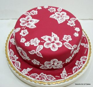Brush Embroidery on Cake