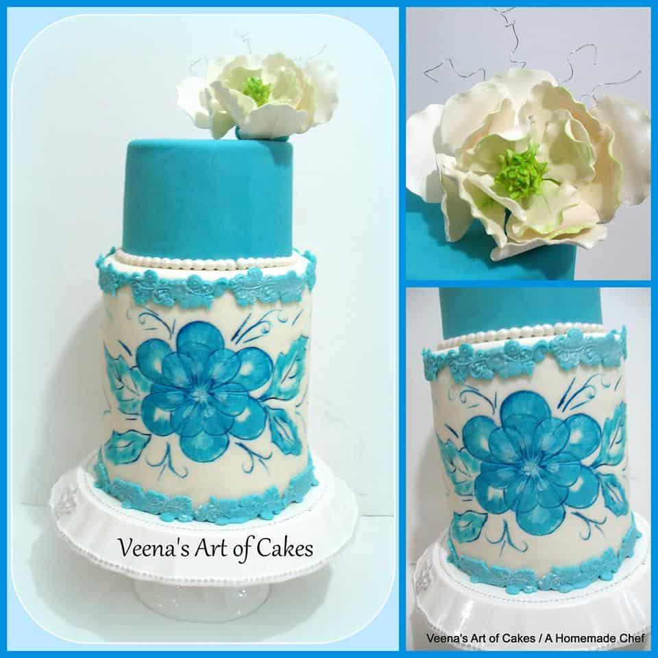 A double barrel blue lace wedding cake.