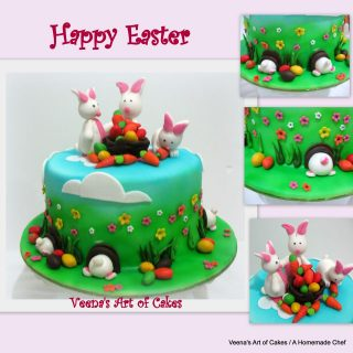 Easter Cake with Easter Bunnies