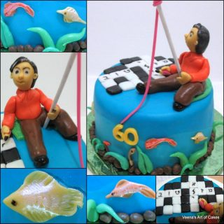 Crossword and Fishing Cake