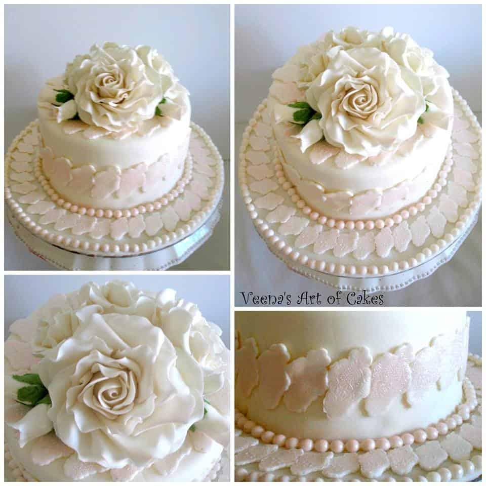 Lace inpired Ivory cake
