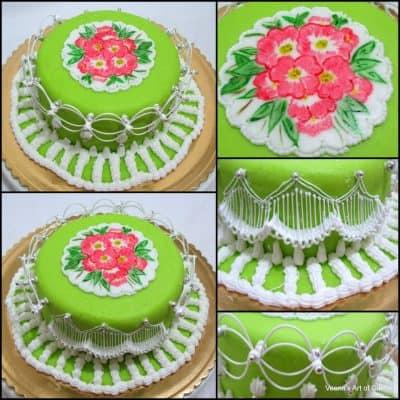 Oriental string work cake