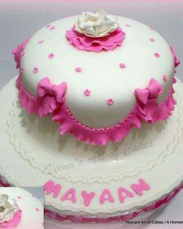 A  birthday cake with pink frills.