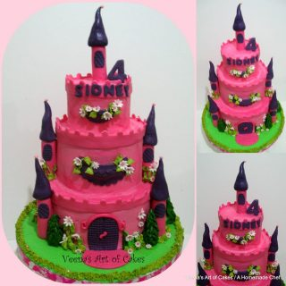 Buttercream Castle Cake with Princess Cupcakes