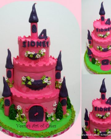 A cake decorated to look like a castle.