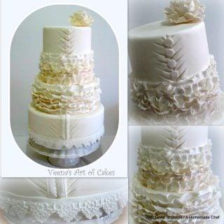 Ruffle Dress Inspired Wedding Cake