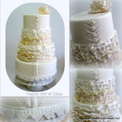 A ruffle dress inspired wedding cake.