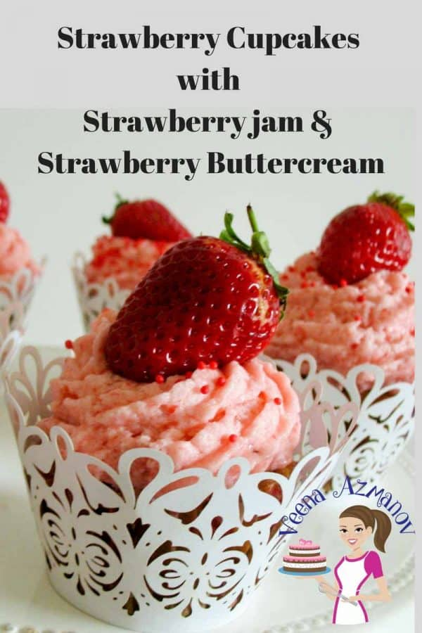 These delicious Strawberry Cupcakes are the ultimate strawberry pleasure with soft jam centers, frosted with luxurious strawberry buttercream and adorned with a fresh strawberry. These are simple, easy and my one bowl baking from scratch series you will love