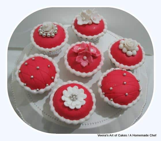 Red fondant dome cupcakes