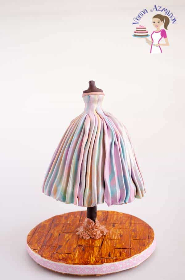 A Pastel Dress Cake with Pink marble fondant - showing how to marble fondant for cakes.