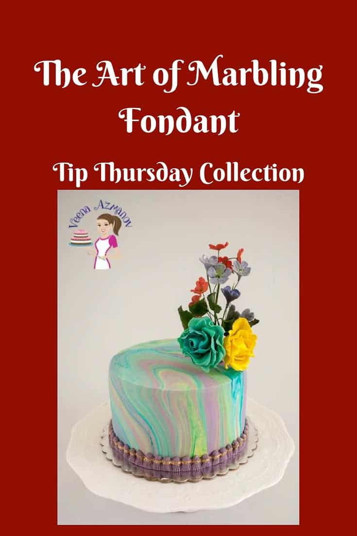 A Pinterest Optimized Image for the tutorial - How to marble fondant for cake. Simple easy and effortless technique